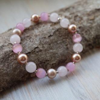 180305db71a kassislim roosa kvarts swarovski pärl roosa käevõru swarovski kristallidest  pärlitest käevõru
