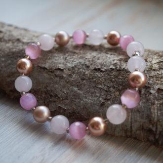 1ee301cc89e kassislim roosa kvarts swarovski pärl roosa käevõru ...